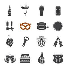 Beer glyph icons set