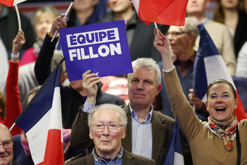 Peoplle attend the politcal rally for Francois Fillon, former French prime minister, member of The Republicans political party and 2017 presidential election candidate of the French centre-right, in Margny-les-Compiegne