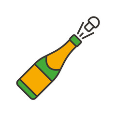 Champagne bottle opening color icon