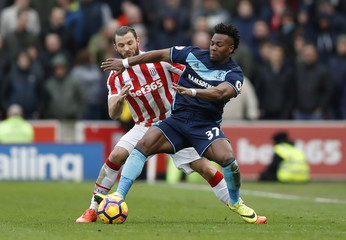 Middlesbrough's Adama Traore in action with Stoke City's Erik Pieters