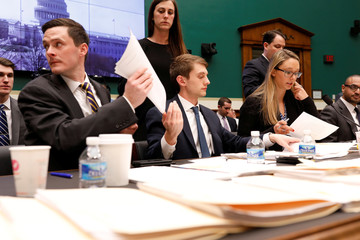 Staffers handle amendments during a marathon House Energy and Commerce Committee hearing on a potential replacement for the Affordable Care Act