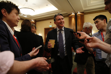 IAAF President Sebastian Coe after the press conference
