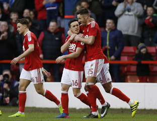 Nottingham Forest's Zach Clough celebrates scoring their third goal