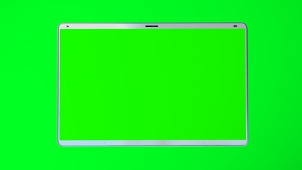 White tablet computer with isolated green screen on green background