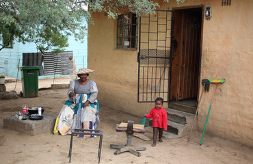 Sarafina Nbaimbaind looks on during an interview with Reuters at her home in Okahandja, north of Windhoek, Namibia