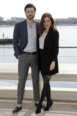 "Actress Caroline Dhavernas and actor Richard Short pose during a photocall for the television series ""Mary Kills People"" at the MIPTV, the International Television Programs Market, in Cannes"