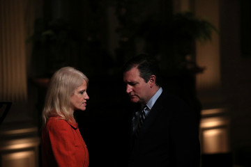 Senior advisor Kellyanne Conway talks with Sen. Ted Cruz (R-TX) during a reception for Senators and their spouses hosted by U.S. President Donald Trump and First Lady Melania Trump at the East Room of the White House in Washington, U.S.