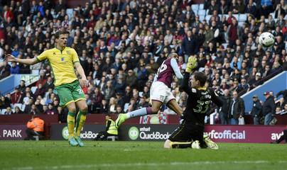 Aston Villa's Jonathan Kodjia scores their second goal