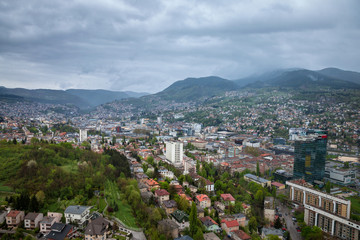 Aerial view of Sarajevo during a cloudy and rainly day of spring.