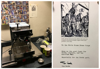 A combination picture shows a brand new coffee machine with an attached note on the wall, and a close-up view of the note from actor Tom Hanks to the White House Press Corps are seen in the press room of the White House in Washington