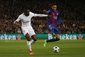 Paris Saint-Germain's Blaise Matuidi in action with Barcelona's Neymar