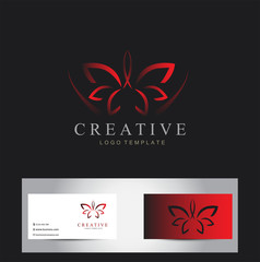 Abstract beauty lotus flower logo design