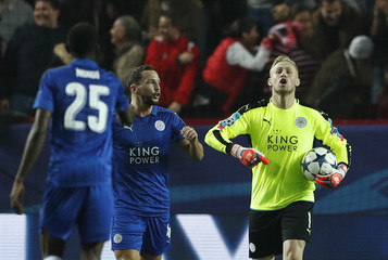 Leicester City's Kasper Schmeichel looks dejected after Sevilla's first goal