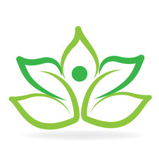 Logo yoga man green lotus vector