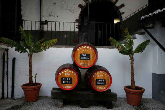 Three barrels of Madeira wine are seen at the Blandy's wine cellar in Funchal