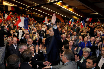 Francois Fillon, 2017 presidential election candidate, arrives at a campaign rally in Quimper