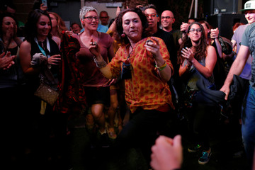 Mamak Khadem dances with the audience at the ContraBand Showcase at the South by Southwest Music Film Interactive Festival 2017 in Austin
