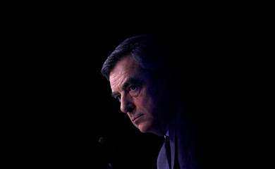 Francois Fillon, former French prime minister, member of The Republicans political party and 2017 presidential election candidate of the centre-right, attends a meeting focused on civil works in Paris