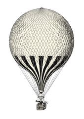 retro transportation and travel engraving / drawing: vintage hot air balloon - vector design element