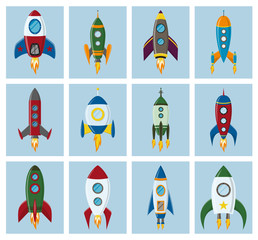 Vector retro space rocket ship icon set in a flat style. Design elements for background with project start up and development process, creative idea etc.
