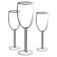 бокалы стеклянные три