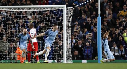 Manchester City's John Stones celebrates scoring their fourth goal