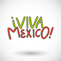 Viva Mexico, vector  icon with round shadow