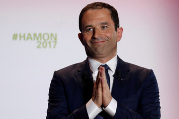Benoit Hamon, French Socialist party 2017 presidential candidate, attends a campaign rally in Lille