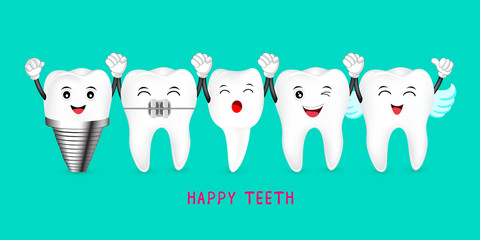 Happy cute cartoon tooth characters. Dental care concept. Illustratiion