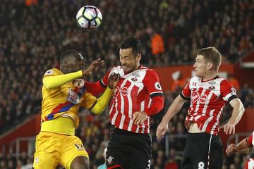 Crystal Palace's Christian Benteke in action with Southampton's Maya Yoshida and Steven Davis