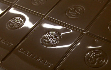 FILE PHOTO: File photo of a chocolate bar seen at the Barry Callebaut factory in Lebbeke