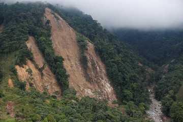 Aerial view of the mountain where the landslide originated after flooding and mudslides caused by heavy rains leading several rivers to overflow, pushing sediment and rocks into buildings and roads, in Mocoa