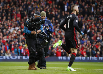 Manchester United's David De Gea with camera crew before the match