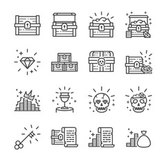 Treasure chest line icon set