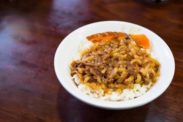 Braised pork on rice
