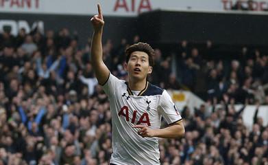 Tottenham's Son Heung-min celebrates scoring their third goal