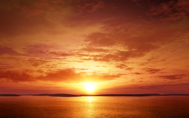 Serene and colorful Sunset. Photo real 3D illustration