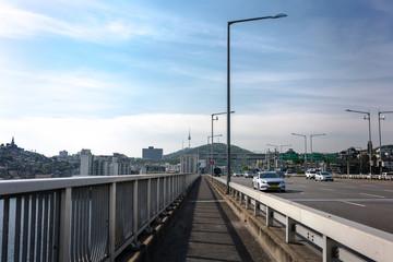 In the middle of Hannam Bridge in Seoul, Korea