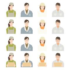 農家・牧畜畜産業の生産者など働くヤングミドルの表情パターンセットのイラストイメージ