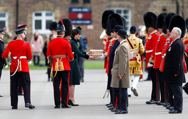 Britain's Catherine the Duchess of Cambridge visits the Irish Guards to mark St Patrick's Day at their barracks in London