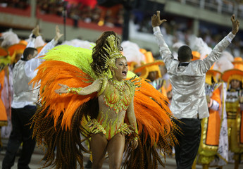 Drum queen Raphaela Gomes from Sao Clemente samba school performs during the second night of the carnival parade at the Sambadrome in Rio de Janeiro
