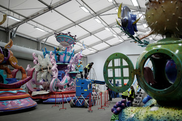 Employees work on the Finding Nemo & Finding Dory's Char and the Frozen's Char for the Disney Stars on Parade, the new parade to celebrate the 25th anniversary of the park, at the Chars Workshop in Disneyland Paris in Marne-la-Vallee