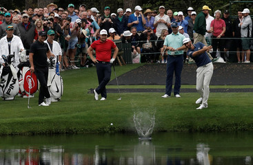 Dustin Johnson of the U.S. practices for the 2017 Masters at Augusta National Golf Course in Augusta