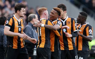 Hull City's Sam Clucas celebrates scoring their second goal with team mates
