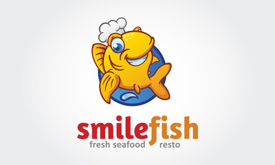 Vector funny golden fish with a chef's hat. Logo Cartoon illustration.