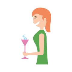 Woman celebrating cartoon icon vector illustration graphic design