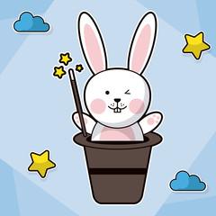 bunny magician hat fantasy image vector illustration