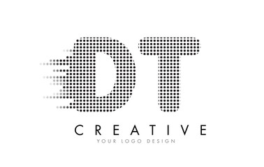 DT D T Letter Logo with Black Dots and Trails.