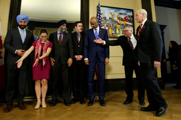 U.S. Homeland Security Secretary Kelly arrives for a group photo with Canada's Public Safety Minister Goodale on Parliament Hill in Ottawa