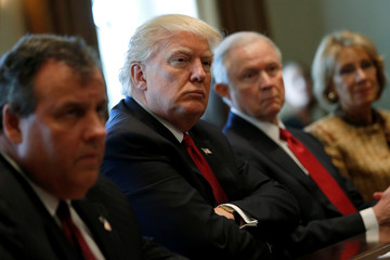 Trump, flanked by Christie, Sessions and DeVos, holds an opioid and drug abuse listening session at the White House in Washington
